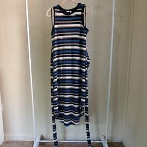 Gap Stripe Wrap-Belt Midi Dress